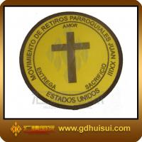 Quality round woven patch with adhesive back for sale