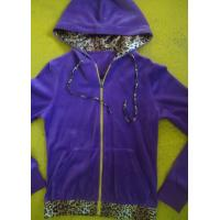 Quality Purple Velour Color Block Womens Zip Up Hoodies With Kangaroo Pocket High End for sale