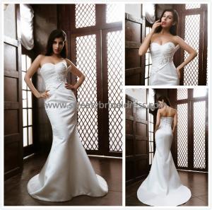 Quality Mermaid & Trumpet Sweetheart Ruffles Beading Satin Bridal Dress XG002 for sale