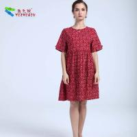 China 100% Cotton Material Women'S A Line Dresses , Short Sleeve Casual Summer Dresses on sale