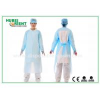 Plastic Disposable Protective Gowns / Blue CPE Surgical Gown for Patient , CE Standard for sale