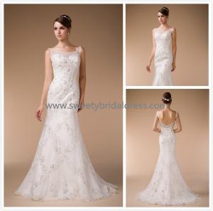 Quality Mermaid & Trumpet Bateau Beading Low Back Lace Bridal Dress HM890001 for sale
