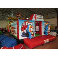 Quality Inflatable Rescue Fire Truck Bouncy Castle Obstacle Course , Obstacle Course Jump House for sale