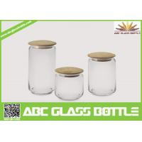Quality Hot sales glass spice jars with wood lid for sale