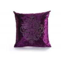 Quality Custom Unique Creative Shiny Diamonds Logo Purple Square Soft Velvet Pillow Case for sale
