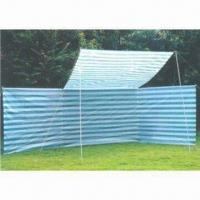 Quality 5m wind screen with roof, steel frame, stripe color, 120gsm PE fabric, quantity of 4+2 pieces for sale