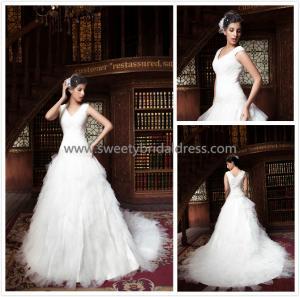 Quality Aline V-Neck Beading Net Ruffles Zipper Tulle Wedding Dress ZX008 for sale