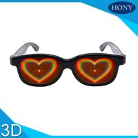 Quality ABS Frame Heart 3D Diffraction Glasses Black Frame for wedding party for sale