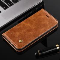 Quality Oily Vintage Iphone 7 Leather Wallet Case , Full Protection Magnetic Wallet Case for sale