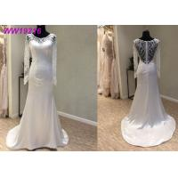 China Elegant Illusion Back French A Line Ball Gown Wedding Dress With Lace Beaded Decoration on sale