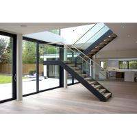 Quality Interior wooden straight staircase with glass railing free design for sale