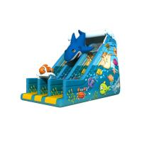 Quality Dark Blue Undersea World Lovely Dolphin Inflatable Dry Slide , 3 Years Guarantee for sale