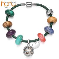 Quality Fragrance Murano glass beads White  Gold Plated  Bracelet with CZ for sale
