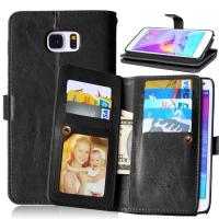 Samsung Galaxy Note3 Note4 Note5 Wallet Case Retro Cover Bags Pouch 9 Cards Slot Holder