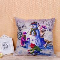Quality Fancy Snowman Pillow Cushion Covers Recycled Cotton Linen Material 45 * 45 Cm for sale