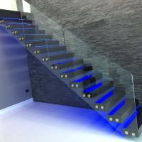 Quality modern glass folding stairs / build floating staircase for sale