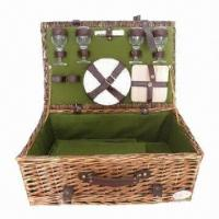Quality Full Wicker Basket, Made of Cotton and Faux Leather, Measures 430 x 280 x 170mm for sale