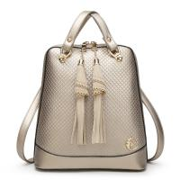 Quality Solid Pretty Style Women Genuine Leather Female Backpack , Diamond Lattice Ladies Leather Rucksack for sale