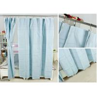Quality Ruffled Blackout Modern Window Curtains Light Blue Color 100% Cotton Country Style for sale