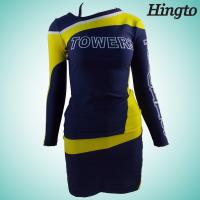 China Black And Gold Cheerleading Uniforms Long Sleeve Cheerleader Costume on sale