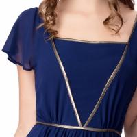 Buy Elegant Chiffon U Neck Womens Summer Maxi Dresses Royal Blue Flare Sleeves Big Sweep at wholesale prices