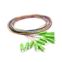 Quality 0.9mm Pigtail Single Mode , 1m SC APC Single Mode Pigtail 12 Core For FTTx Network for sale
