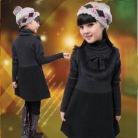 Quality Uneven Grey Turtleneck Little Girls Winter Dresses With Bow 5 Year Old Girl Clothes for sale