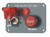 Quality Carbon Fiber Racing Ignition Switch Panel , Red Illuminated Engine Start Button for sale