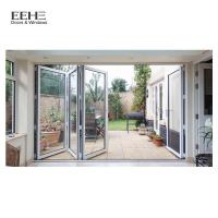 Quality High Strength Red Aluminium Folding Doors For Commercial Buildings 5mm Thickness for sale