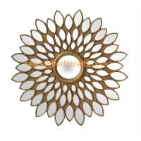 Quality China Factory Beautiful Sunflower Design MDF Framed Wall Hanging Mirror For Living Room Decor for sale