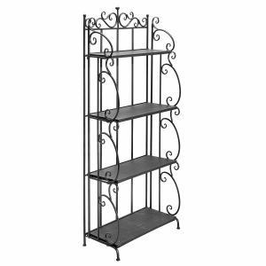 Quality Folding Black Metal Display Shelf / 4 Tier Storage Organizer Solid Structure for sale
