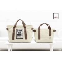 China Cotton Canvas Tote Bags Women Sublimation Printed For Promotion Couples 2 Sets Of Bags for sale