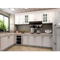 Quality White Particle Board Pvc Custom Kitchen Cupboards Traditional L Shape With Fridge for sale