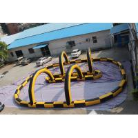 Quality Fireproof Material Inflatable Race Track For Karting Yellow & Black for sale