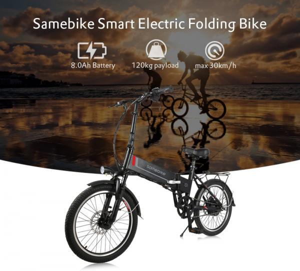 Samebike 20LVXD30 Smart Folding Bike Electric Moped Bicycle 8Ah Battery / with Double Disc Brakes- White EU Plug