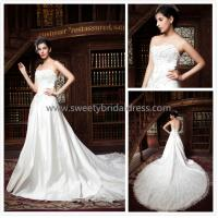 Quality Aline Strapless Beading Zipper Satin and Lace Wedding Dress ZX006 for sale