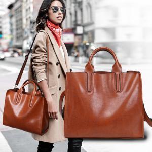 Quality Oil Pu Leather Shoulder Bag Vintage , Womens Leather Laptop Bag With Long Belt Black for sale
