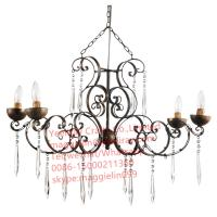 China YL-L1015 antique iron metal modern chandelier, led  iron hanging lamps with K9 crystal on sale