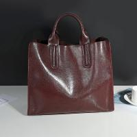 Quality Cowhide Casual Tote Black Leather HandbagsWith Mobile Phone / Document Pocket for sale