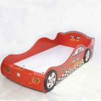 Quality Cartoon Bedroom / Kids Playroom Furniture Children Racing Car Bed With LED Lights for sale