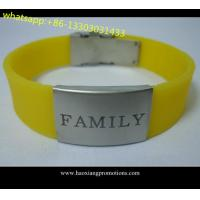 Quality Custom logo double sided silicone wristband With laser engraving metal for sale