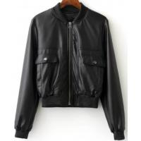 Quality Ladies PU Leather Down Jacket , Zipper Short Warm Black Leather Bomber Jacket for sale