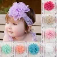 Quality Baby Infant Girls Toddler Chiffon Elastic Lace Flower Headband Hair Band for sale