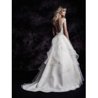 Quality NEW!!! Lace Capes wedding dress Ball gown Organza skirt Low back Bridal gown #BLOG4605 for sale