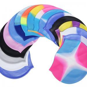 Buy cheap Custom Logo Printed silicone swimming cap custom print watersport hat and cap waterproof swim cap from wholesalers