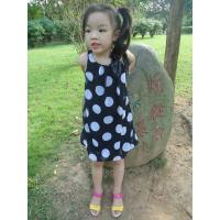 Quality Sequences Little Girls Polka Dot Dress , Bow Shoulder Childrens Chiffon Dresses for sale