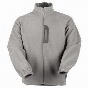 Quality Men's Fleece Jacket with Nylon Zipper for sale