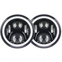 Quality 7 inch led fog light 70W With Angel eyes high/low Beam Pattern with RGB  Bluetooth controller for Jeep for sale
