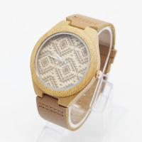 China OEM Logo Unisex Bamboo Wrist Watch Leather Belt Watches For Mens on sale