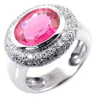 Buy cheap Fashionable Hot pink 12# Women's Cushion Cut Diamond semi precious atone ring from wholesalers